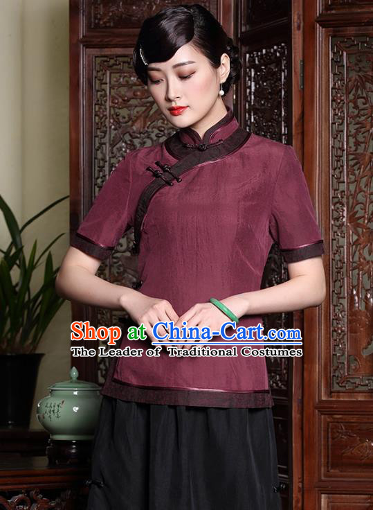 Traditional Chinese National Costume Elegant Hanfu Plated Button Red Silk Shirt, China Tang Suit Upper Outer Garment Cheongsam Blouse for Women