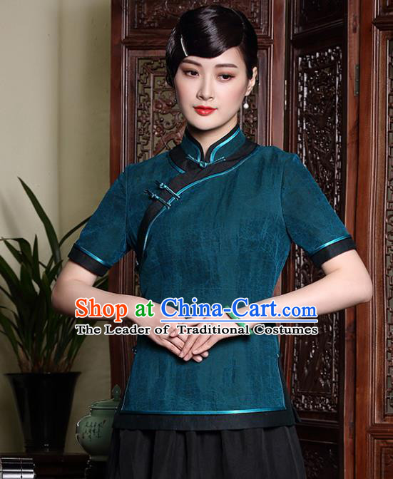 Traditional Chinese National Costume Elegant Hanfu Plated Button Green Silk Shirt, China Tang Suit Upper Outer Garment Cheongsam Blouse for Women