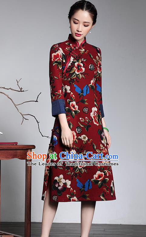 Traditional Chinese National Costume Elegant Hanfu Printing Red Qipao Dress Cheongsam, China Tang Suit Plated Buttons Chirpaur for Women
