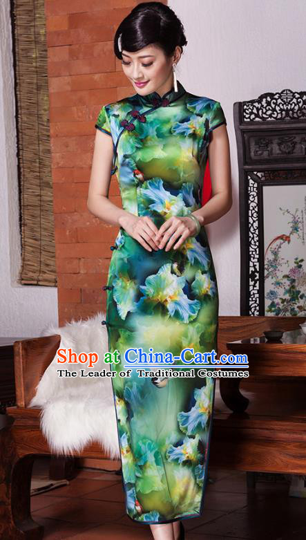 Traditional Chinese National Costume Elegant Hanfu Silk Cheongsam Green Qipao Dress, China Tang Suit Plated Buttons Chirpaur for Women