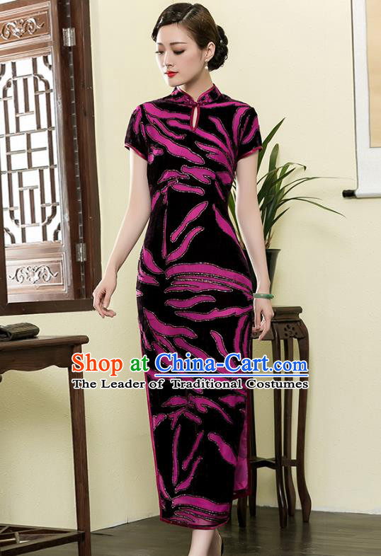 Traditional Chinese National Costume Elegant Hanfu Cheongsam Velvet Purple Flowers Qipao Dress, China Tang Suit Plated Buttons Chirpaur for Women