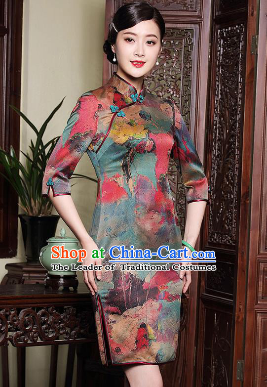 Traditional Chinese National Costume Elegant Hanfu Cheongsam Silk Qipao Dress, China Tang Suit Plated Buttons Chirpaur for Women