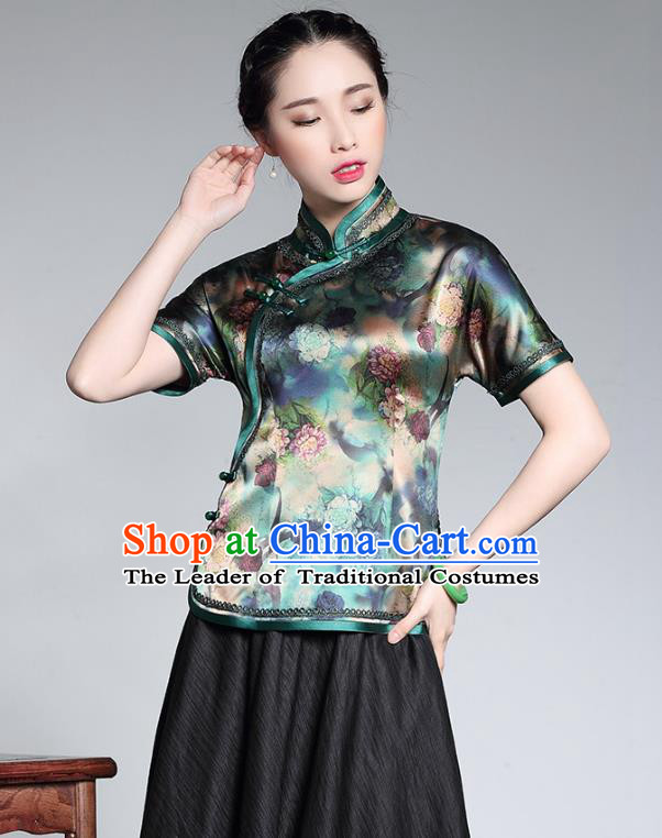 Traditional Chinese National Costume Elegant Hanfu Plated Button Printing Green Silk Shirt, China Tang Suit Upper Outer Garment Cheongsam Blouse for Women