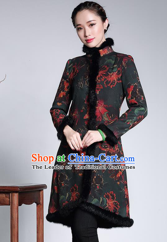 Traditional Chinese National Costume Elegant Hanfu Cotton-padded Coat, China Tang Suit Plated Buttons Chirpaur Dust Coat for Women