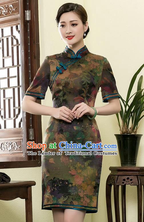 Traditional Chinese National Costume Elegant Hanfu Silk Qipao Dress, China Tang Suit Plated Buttons Cheongsam for Women