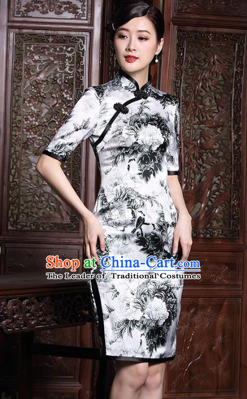 Traditional Chinese National Costume Elegant Hanfu Plated Button Mandarin Qipao, China Tang Suit White Silk Printing Cheongsam for Women
