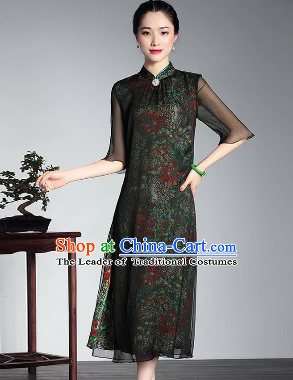 Traditional Chinese National Costume Hanfu Mandarin Qipao Dress, China Tang Suit Silk Cheongsam for Women