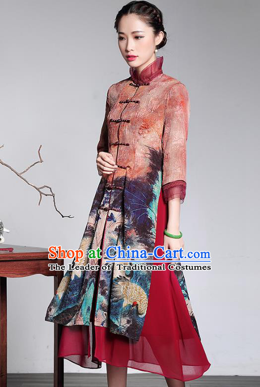 Traditional Chinese National Costume Long Qipao Coat, China Tang Suit Chirpaur Dust Coat for Women