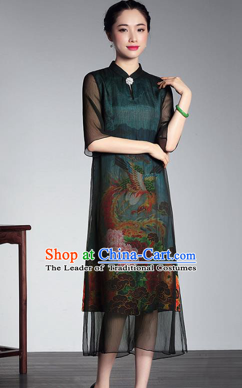 31c0f8f4b Traditional Chinese National Costume Plated Buttons Printing Peony Qipao  Dress, China Tang Suit Chirpaur Green Silk ...