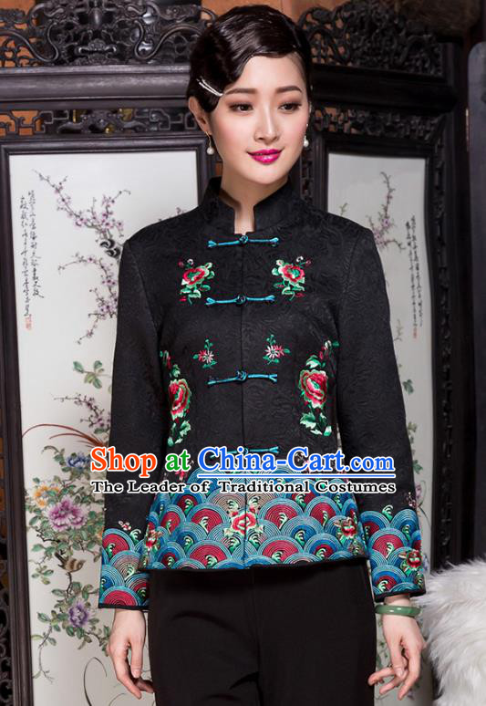 Traditional Chinese National Costume Plated Buttons Qipao Upper Outer Garment, China Tang Suit Chirpaur Coat Cheongsam Embroidered Jacket for Women