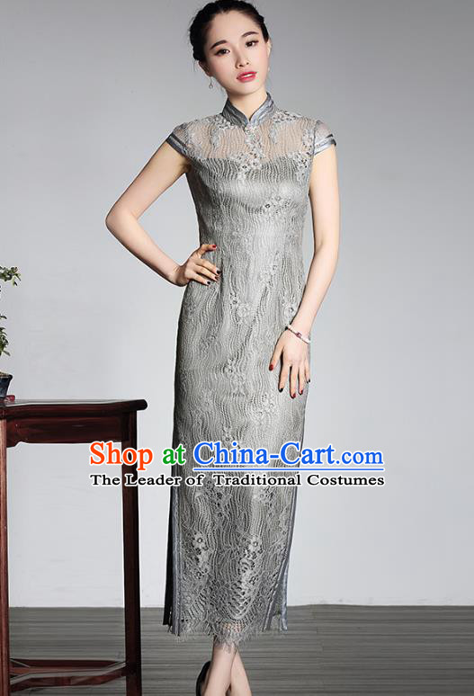 Traditional Chinese National Costume Plated Buttons Grey Lace Qipao Dress, China Tang Suit Chirpaur Cheongsam for Women
