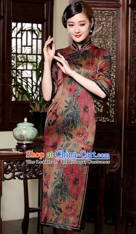Traditional Chinese National Costume Plated Buttons Watered Gauze Qipao Dress, China Tang Suit Chirpaur Cheongsam for Women