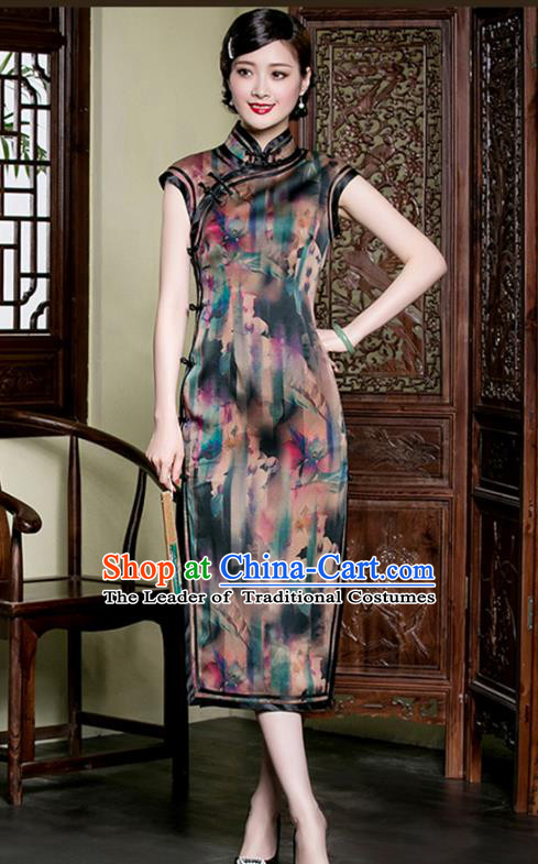 Traditional Chinese National Costume Plated Buttons Qipao Dress, China Tang Suit Chirpaur Watered Gauze Cheongsam for Women