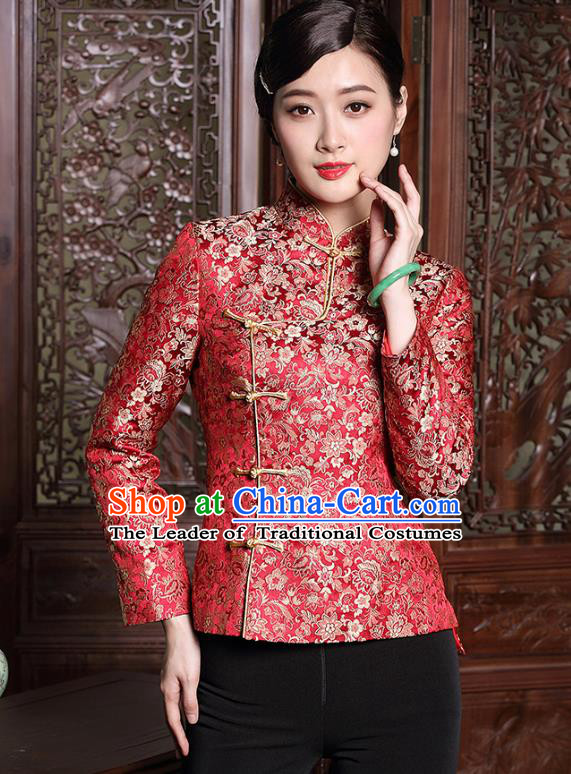 Traditional Chinese National Costume Plated Buttons Red Qipao Jacket, Top Grade Tang Suit Coat Cheongsam Upper Outer Garment for Women
