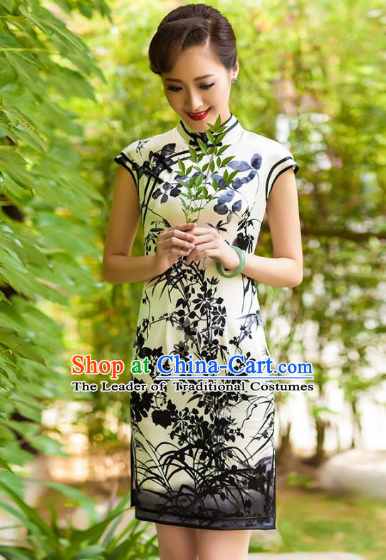 Traditional Ancient Chinese Young Lady Retro Cheongsam White Ink Painting Silk Dress, Asian Republic of China Qipao Tang Suit Clothing for Women