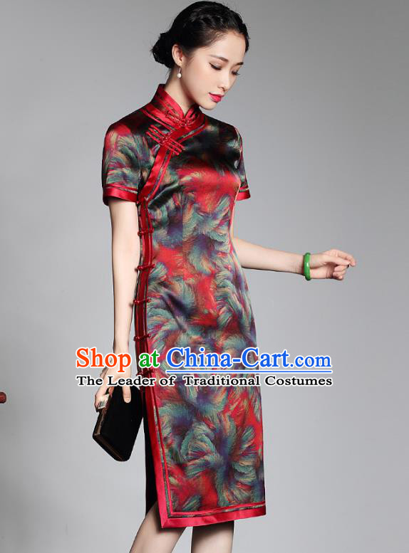 50b887c34 Traditional Chinese National Costume Plated Buttons Qipao Red Silk Dress,  Top Grade Tang Suit Stand Collar Cheongsam for Women