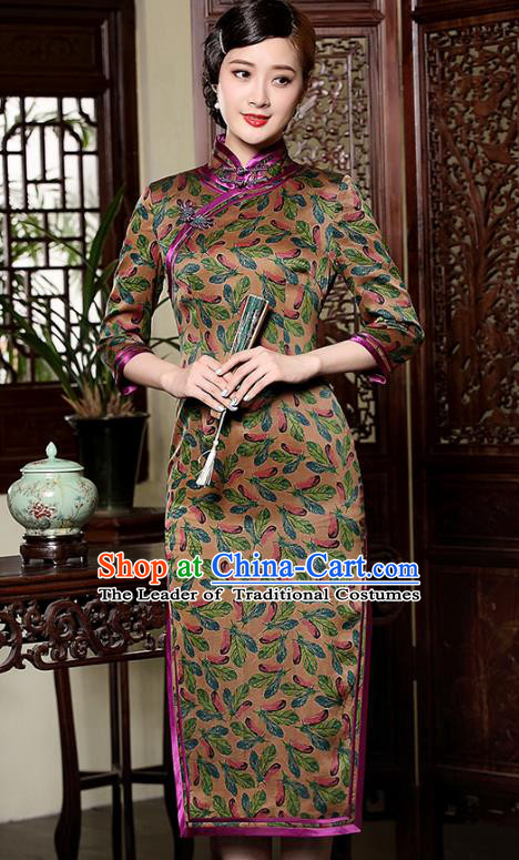 Traditional Chinese National Costume Qipao Watered Gauze Dress, Top Grade Tang Suit Stand Collar Cheongsam for Women