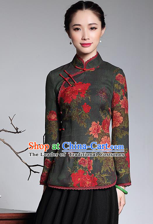 Traditional Chinese National Costume Qipao Blouse, Top Grade Tang Suit Stand Collar Cheongsam Shirts for Women