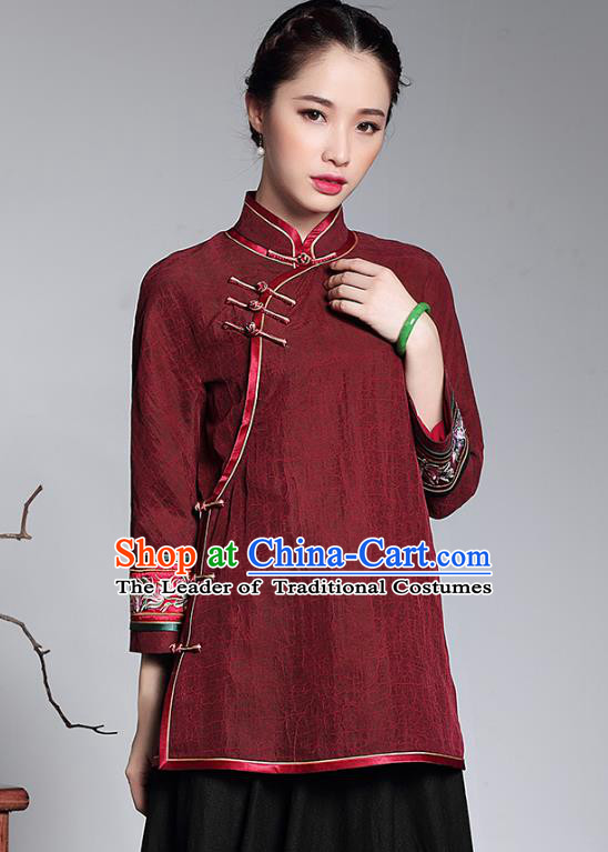 Traditional Chinese National Costume Qipao Upper Outer Garment Blouse, Top Grade Tang Suit Stand Collar Cheongsam Watered Gauze Shirts for Women