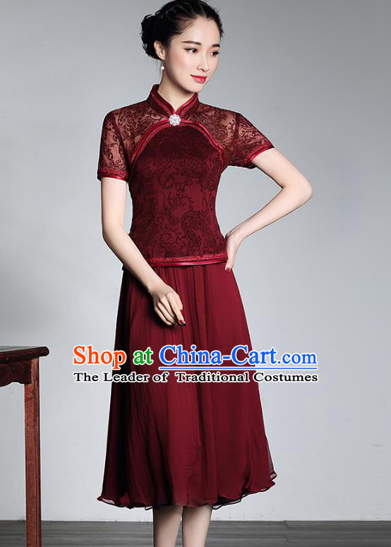 Traditional Ancient Chinese Young Lady Red Lace Cheongsam, Republic of China Stand Collar Qipao Tang Suit Dress for Women