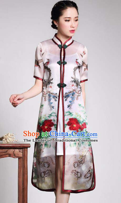 Traditional Ancient Chinese Young Lady Printing Peony Cheongsam Coats, Republic of China Qipao Tang Suit Dust Coat for Women