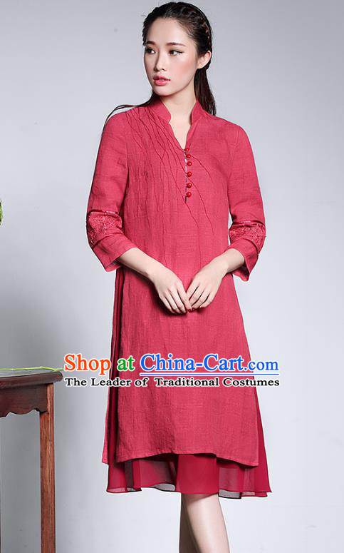Traditional Ancient Chinese Young Lady Plated Buttons Red Linen Cheongsam, Asian Republic of China Qipao Tang Suit Dress for Women