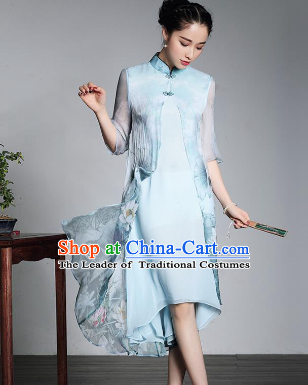 Traditional Ancient Chinese Young Lady Plated Buttons Printing Silk Cheongsam, Asian Republic of China Blue Qipao Tang Suit Dress for Women