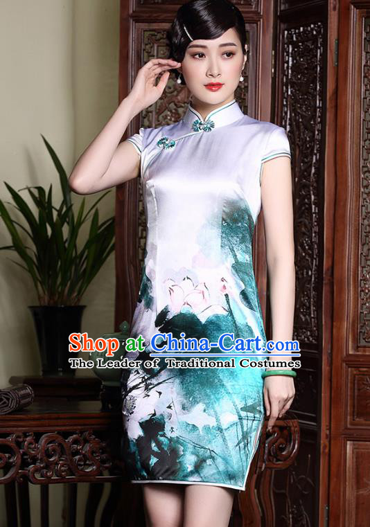 Traditional Ancient Chinese Young Lady Plated Buttons Printing Lotus Silk Cheongsam, Asian Republic of China Qipao Tang Suit Dress for Women