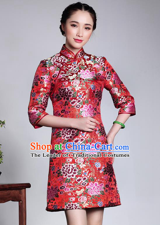 Traditional Ancient Chinese Young Lady Plated Buttons Red Brocade Cheongsam, Asian Republic of China Qipao Tang Suit Dress for Women