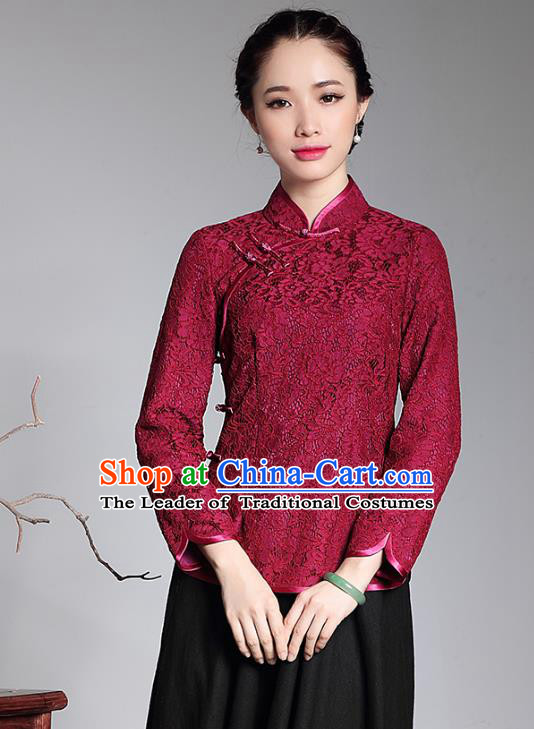 Traditional Ancient Chinese Young Lady Plated Buttons Red Lace Cheongsam Blouse, Asian Republic of China Qipao Shirts Tang Suit Dress for Women