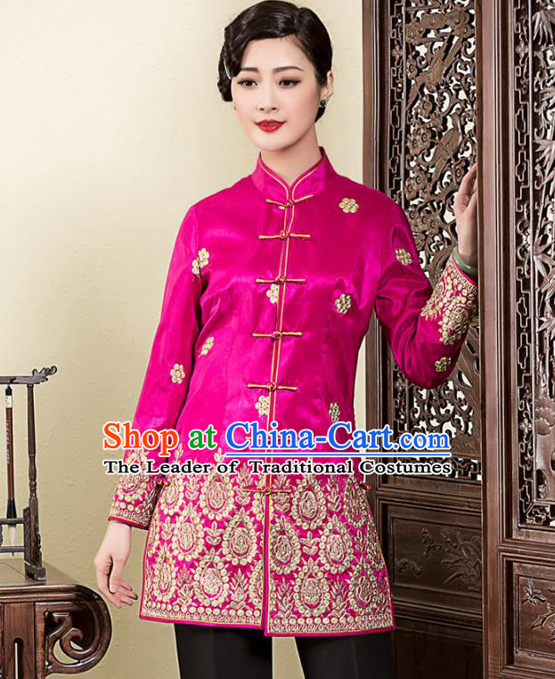 Traditional Ancient Chinese Young Lady Plated Buttons Embroidered Jackets, Asian Republic of China Qipao Tang Suit Coats for Women