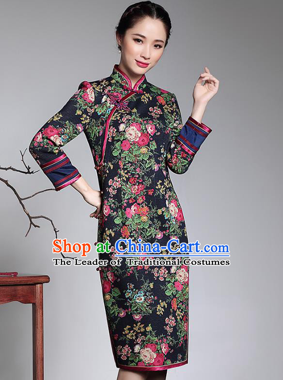Traditional Ancient Chinese Young Lady Plated Buttons Printing Black Cheongsam, Asian Republic of China Qipao Tang Suit Dress for Women