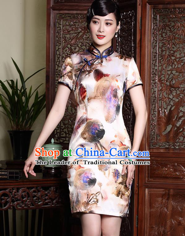 Traditional Ancient Chinese Young Lady Plated Buttons Printing Cheongsam, Asian Republic of China Qipao Dress Tang Suit Clothing for Women