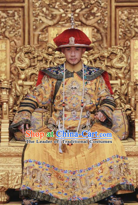 Asian China Qing Dynasty Imperial Emperor Costume and Headpiece Complete Set, Traditional Chinese Ancient Manchu Palace Embroidered Clothing for Men