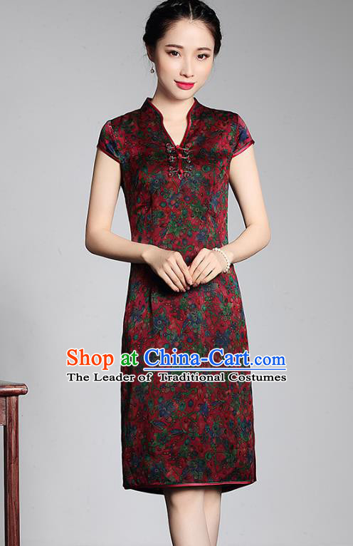 Traditional Ancient Chinese Young Lady Retro Cheongsam Watered Gauze Dress, Asian Republic of China Qipao Tang Suit Clothing for Women