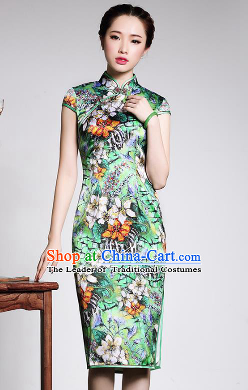 Traditional Ancient Chinese Young Lady Retro Silk Cheongsam Green Printing Dress, Asian Republic of China Qipao Tang Suit Clothing for Women