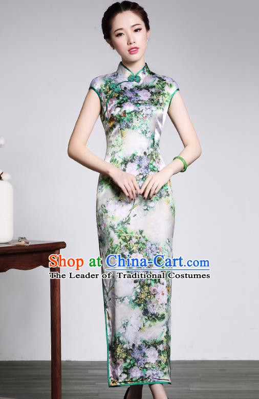 893d2781e Traditional Ancient Chinese Young Lady Retro Printing Silk Long Cheongsam,  Asian Republic of China Qipao Tang Suit Dress for Women
