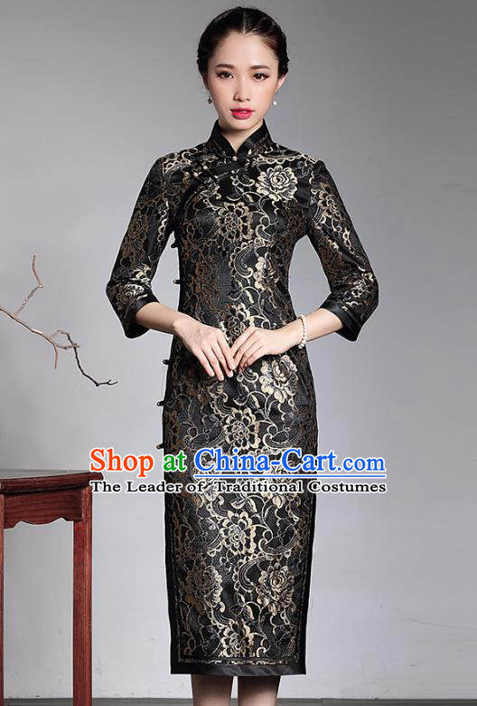 Traditional Ancient Chinese Young Lady Retro Printing Black Lace Cheongsam, Asian Republic of China Qipao Tang Suit  Dress for Women