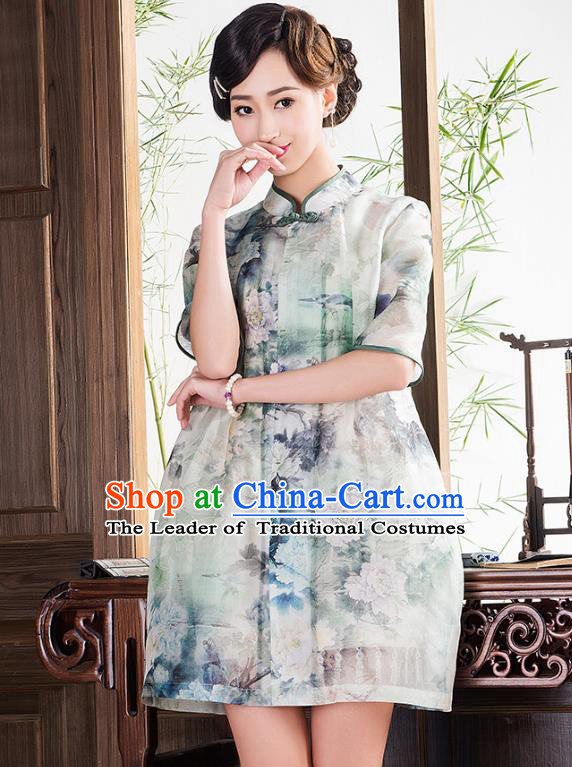 Traditional Ancient Chinese Young Lady Retro Cheongsam Coat, Asian Republic of China Qipao Tang Suit Jacket for Women