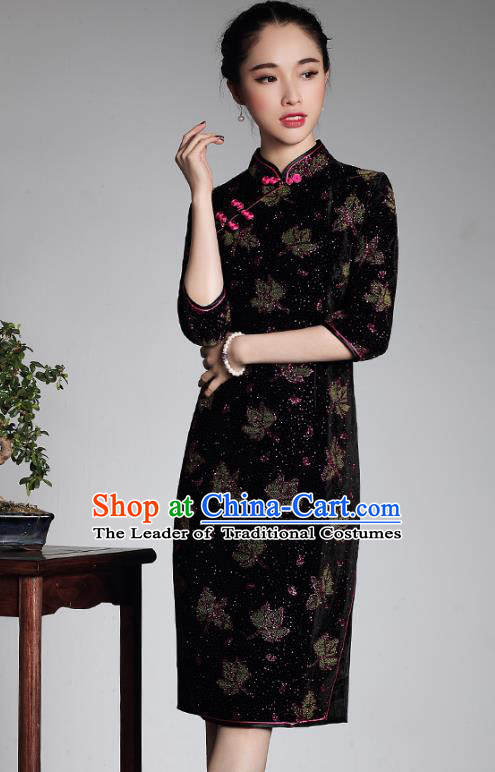 Traditional Ancient Chinese Young Lady Retro Purple Velvet Hot Drilling Cheongsam, Asian Republic of China Qipao Tang Suit Dress for Women