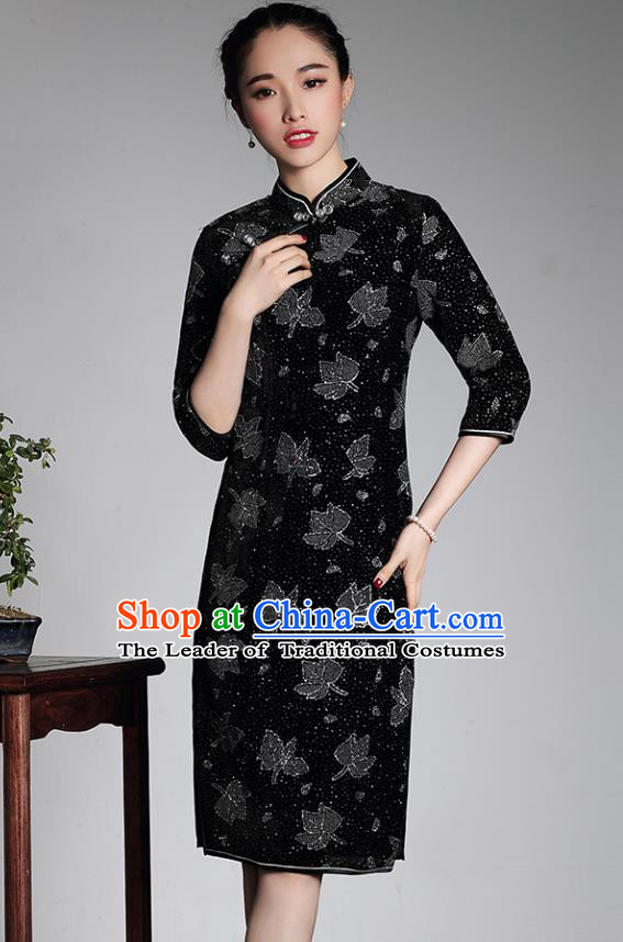 Traditional Ancient Chinese Young Lady Retro Black Velvet Hot Drilling Cheongsam, Asian Republic of China Qipao Tang Suit Dress for Women