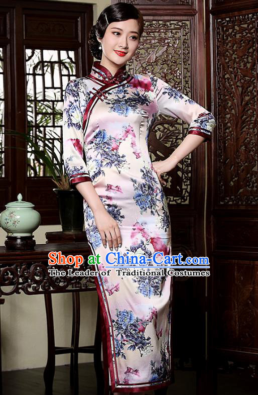 Traditional Ancient Chinese Young Lady Retro Silk Stand Collar Cheongsam, Asian Republic of China Qipao Tang Suit Dress for Women