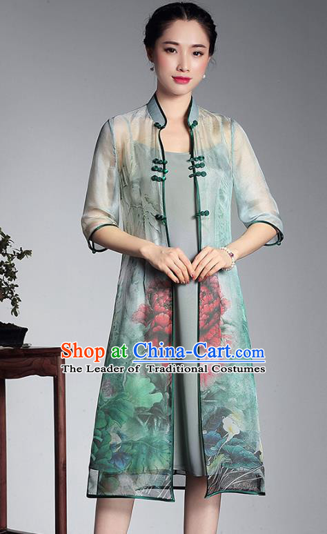 Asian Republic of China Top Grade Plated Buttons Printing Green Cheongsam Cardigan, Traditional Chinese Tang Suit Qipao Dust Coat for Women