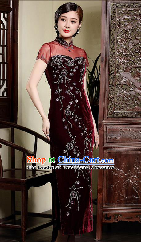 Traditional Ancient Chinese Young Lady Retro Stand Collar Wine Red Velvet Cheongsam, Asian Republic of China Qipao Tang Suit Dress for Women