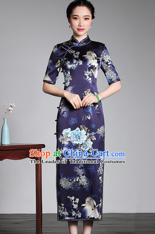 Top Grade Asian Republic of China Plated Buttons Silk Cheongsam, Traditional Chinese Tang Suit Printing Blue Qipao Dress for Women