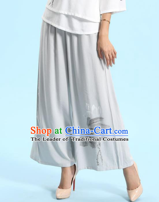 Traditional Chinese National Costume Loose Pants, Elegant Hanfu Tang Suit Ultra-wide-leg Linen Trousers for Women