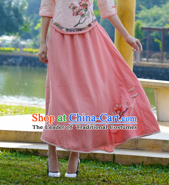 Asian China Hand Painting Pink Linen Bust Skirt, Traditional Chinese Tang Suit Skirts for Women