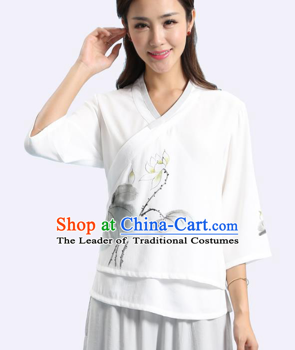 Asian China Hand Painting Printing Lotus Linen Cheongsam Blouse, Traditional Chinese Tang Suit Hanfu Shirts for Women