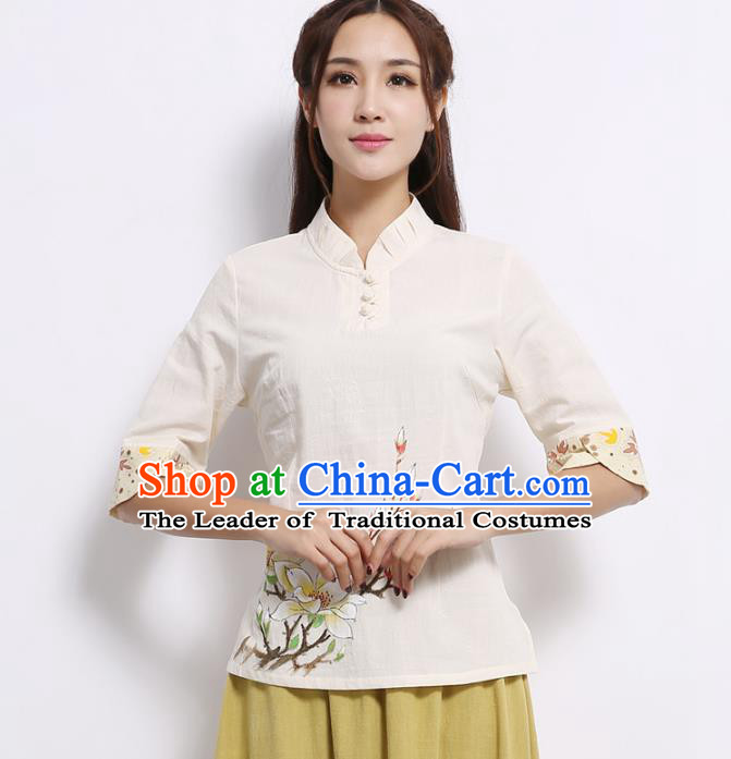Asian China Hand Painting Printing White Linen Cheongsam Blouse, Traditional Chinese Tang Suit Hanfu Shirts for Women