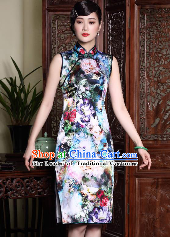 Asian Republic of China Top Grade Plated Buttons Cheongsam, Traditional Chinese Tang Suit Printing Silk Qipao Dress for Women